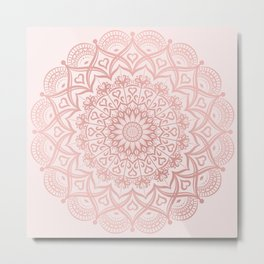 Blush Rose Pink Mandala Metal Print