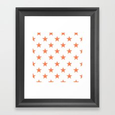Stars (Coral/White) Framed Art Print