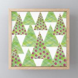 plain and bauble trees decorative shape geometric christmas xmas illustration Framed Mini Art Print