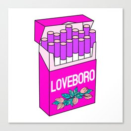 Loveboro cigarette packs pattern / girly stickers / pink grid Canvas Print