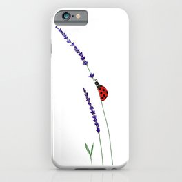 red ladybug and purple lavender iPhone Case