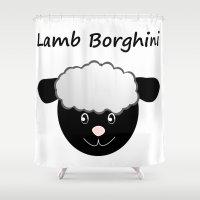 pun Shower Curtains featuring Lamb Borghini funny Sheep Pun by Christine aka stine1