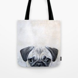 Pug with star, original hand painting design Tote Bag