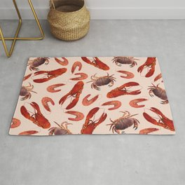 Lobster - Crab - Shrimps coral background Rug