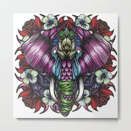 Elephant Red Metal Print