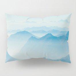 Mystical Paradise Heaven Blue Mountains Parallax Watercolor Pastel Blue Landscape Pillow Sham