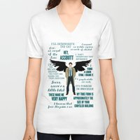 castiel V-neck T-shirts featuring Castiel by Dorothy Leigh