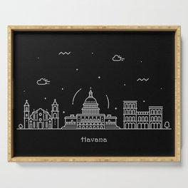 Havana Minimal Nightscape / Skyline Drawing Serving Tray