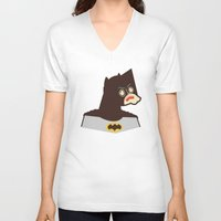 bat man V-neck T-shirts featuring Bat Man by Ryder Doty