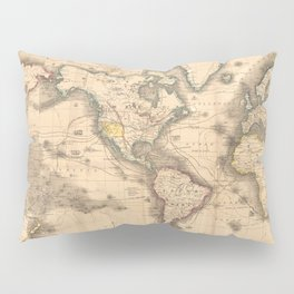 Vintage Map of the World (1850) Pillow Sham