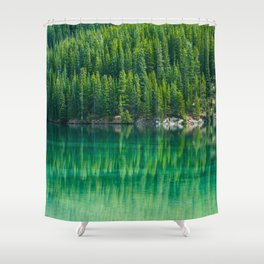 Reflective Green Pine Forest With Green Turquoise Waters Shower Curtain