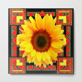 WESTERN BLACK & RED ART DECO YELLOW SUNFLOWER Metal Print