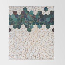 Teal and Cream Organic Hexagons Throw Blanket