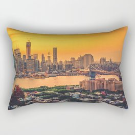 New York City Skyline with Brooklyn Bridge Rectangular Pillow