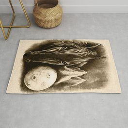 The Dark Side - Surreal Black Horse and Moon Rug