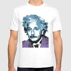 Blue Einstein White Mens Fitted Tee MEDIUM