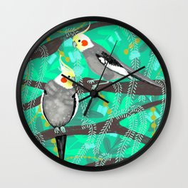 Cockatiels in Green Wall Clock