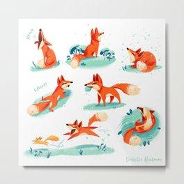 Foxy Poses Metal Print