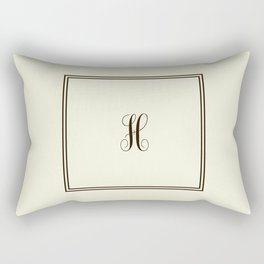 Monogram Letter H in Brown with Double Border Line Rectangular Pillow