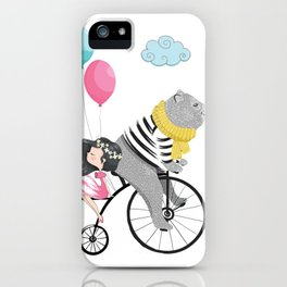 Cute bear and little girl in the sky with bicycle. iPhone Case