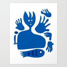Blue Man Fish and Mystic Hands Minimal Art Art Print