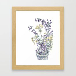 Wild Flowers Ink and Watercolor  Framed Art Print