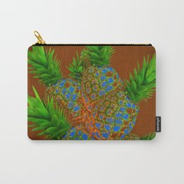 ABSTRACT COFFEE BROWN TROPICAL PINEAPPLES DESIGN Carry-All Pouch