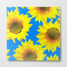 Sunny Sunflowers with blue sky - summer mood - #Society6 #buyart Metal Print