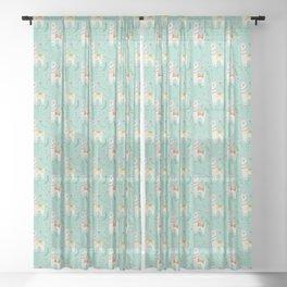 Festive Llama Sheer Curtain