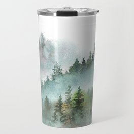 Watercolor Pine Forest Mountains in the Fog Travel Mug