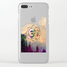 Trees Clouds Om Clear iPhone Case