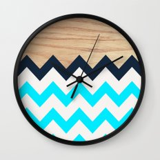 Chevron & Wood Wall Clock