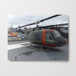 """Huey"" Vietnam Era, Helicopter, Intrepid Flight deck Metal Print"