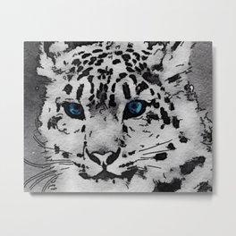 Snow Leopard Watercolor Metal Print