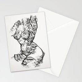 Floral Shroom Torso Pt 2 ink on white Stationery Cards