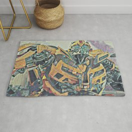 Bumblebee Surprised Artistic Illustration Colored Pencils Lines Style Rug