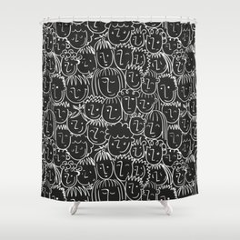 Black & White Hand Drawn People Pattern Shower Curtain
