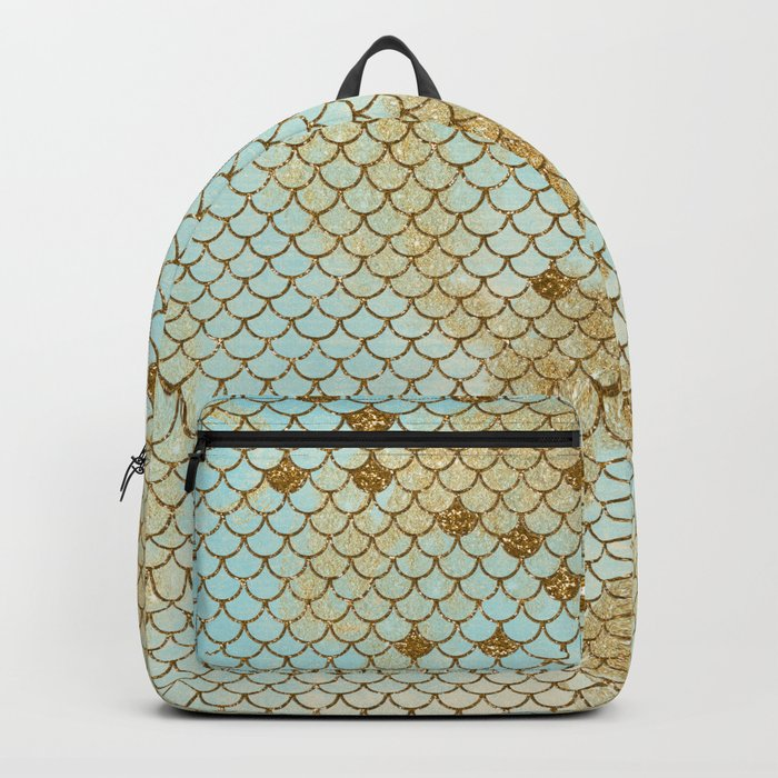 Mermaid Scales- Mermaidscales Gold and Aqua Fish Scales Backpack