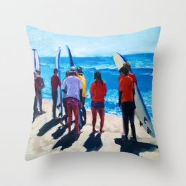 Surf Line Up Throw Pillow
