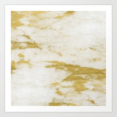 Marble - Shimmery Gold Marble and White Art Print