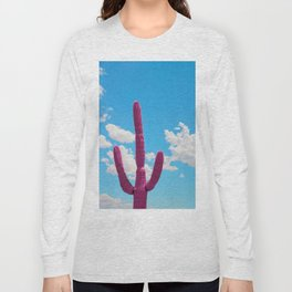 Pink Saguaro Against Blue Cloudy Sky Long Sleeve T-shirt