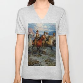 """""""Riders of the Dawn"""" by Frank Tenney Johnson Unisex V-Neck"""
