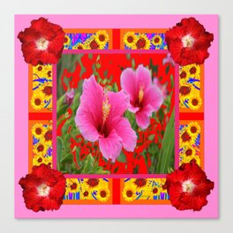 TROPICAL RED-PINK HIBISCUS FLOWERS PATTERNS Canvas Print