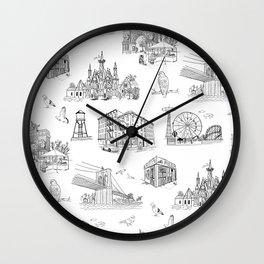 Brooklyn Toile - Black and White Wall Clock