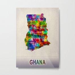 Ghana Map in Watercolor Metal Print