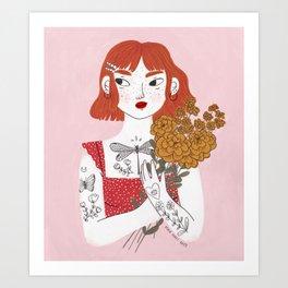 Girl & Flowers Art Print