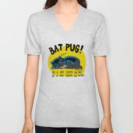 Black Bat Pug! Unisex V-Neck