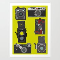 cameras Art Prints featuring Cameras by Illustrated by Jenny