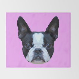 Frenchie / Boston Terrier // Lilac Throw Blanket