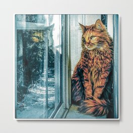 Reflecting on a Snowy Day Metal Print